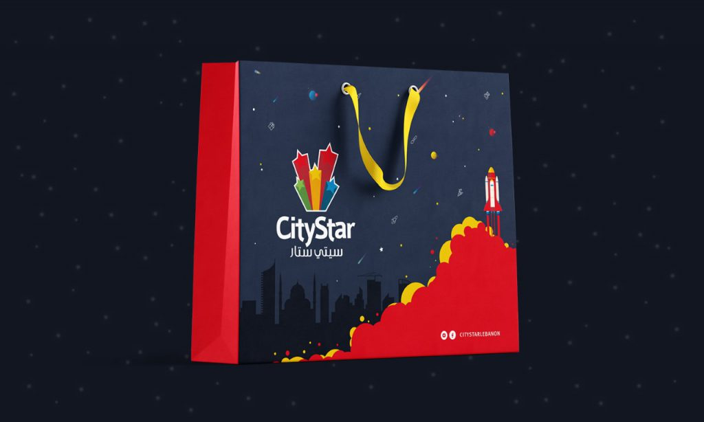 city star mega store logo design on bag
