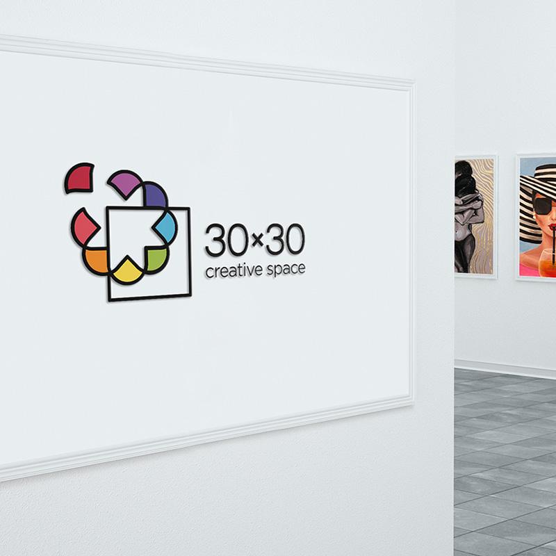 30x30 creative space logo mockup on museum