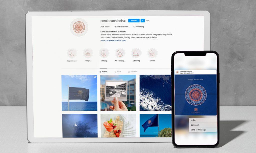 coral beach hotel & resort website mockup on desktop & mobile