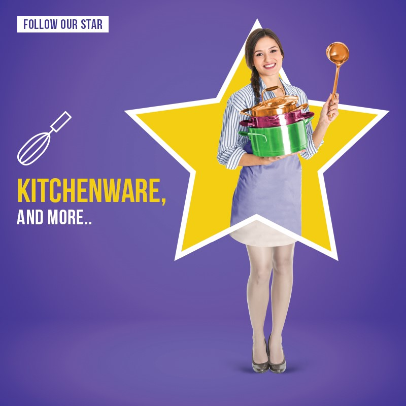 city star mega store social media post of mom inside a star with kitchen products