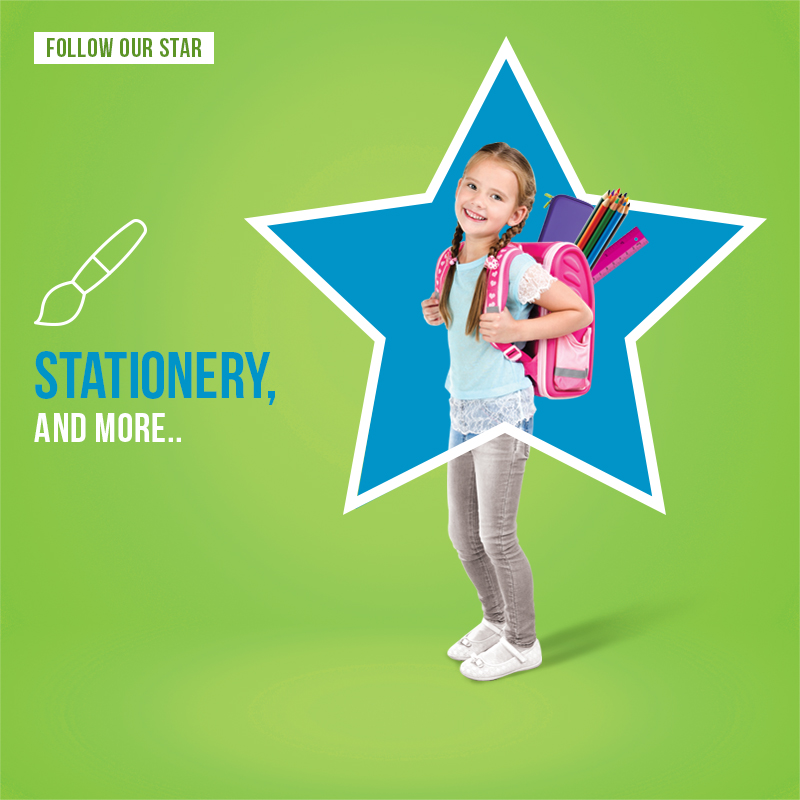 city star mega store social media post of girl inside a star with back to school products