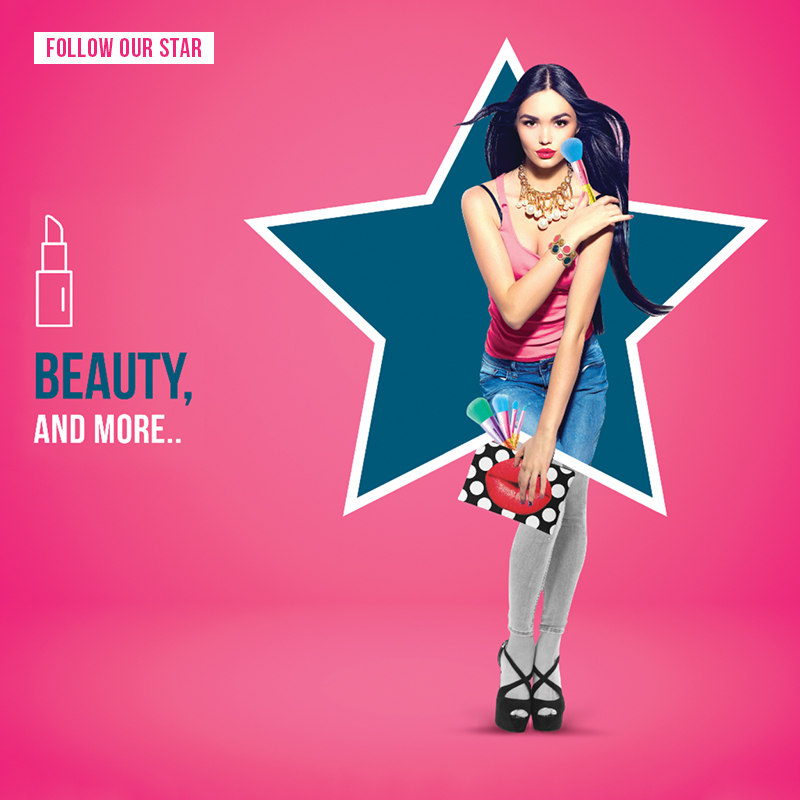 city star mega store social media post of model inside a star with beauty products