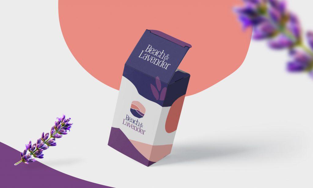 beach & lavender carton box design