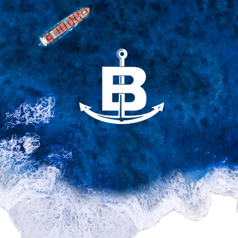 Baldan logo with sea background