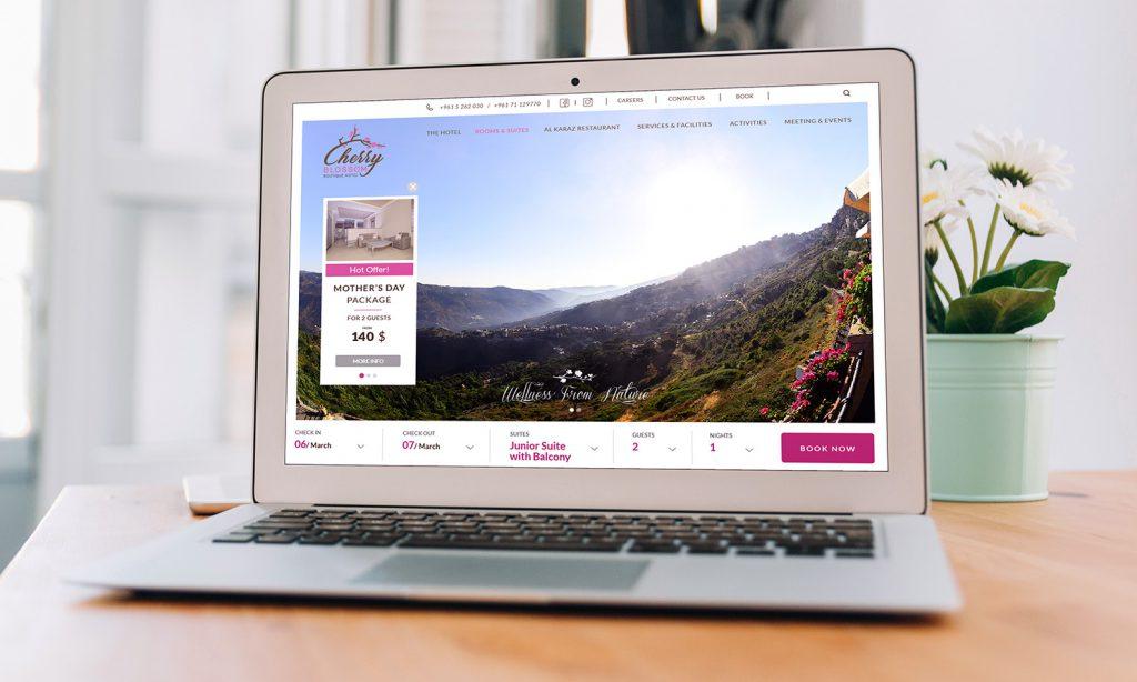 cherry blossom boutique hotel website desktop