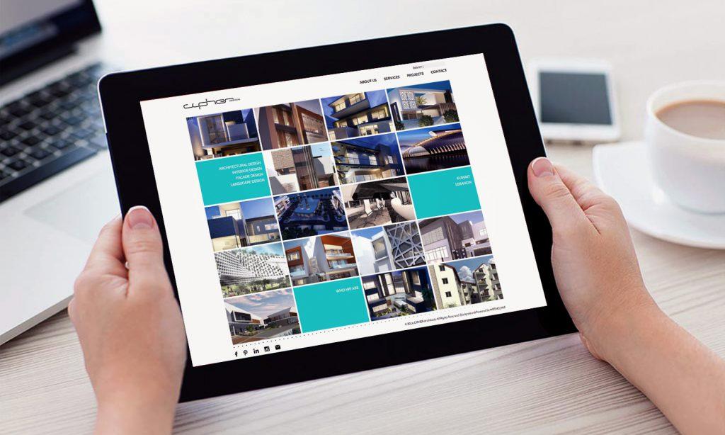 CIPHER - website mockup on tablet - web development project