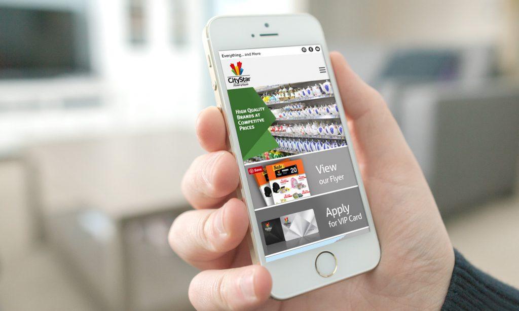 city star mega store mobile website mockup design