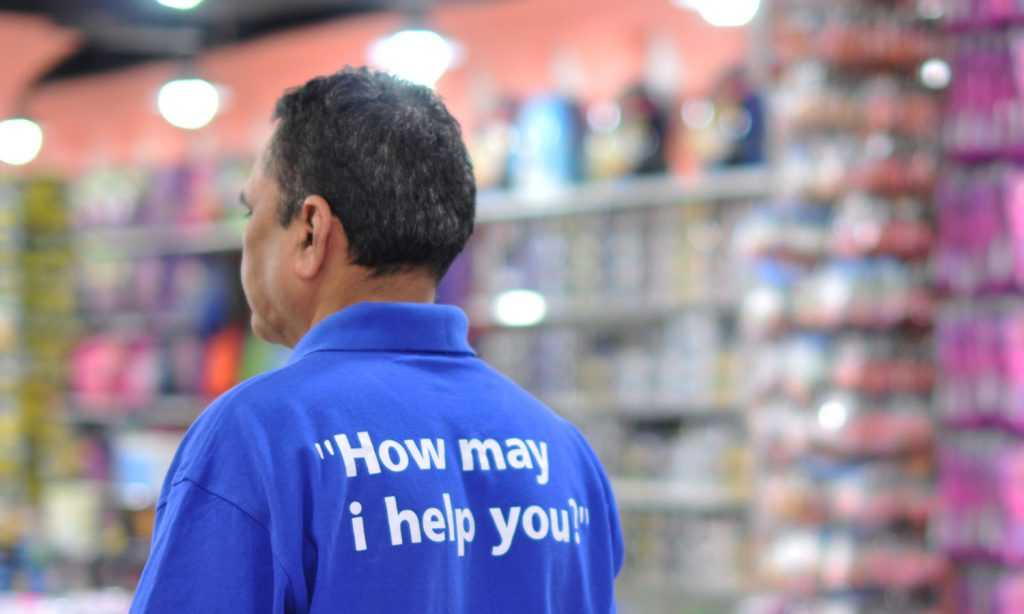 "CITYSTAR- employee t-shirt saying ""how may i help you?"""
