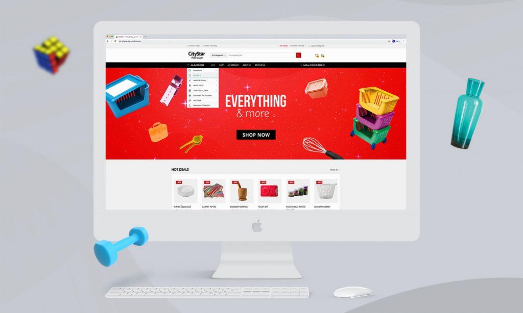 city star e-commerce website mockup