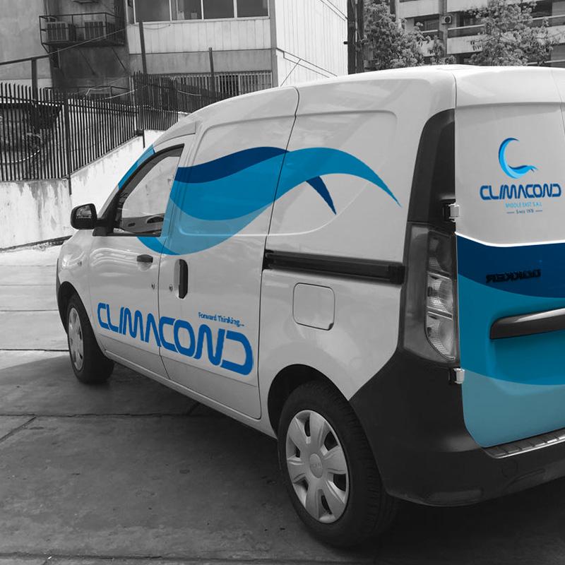Climacond logo on a van