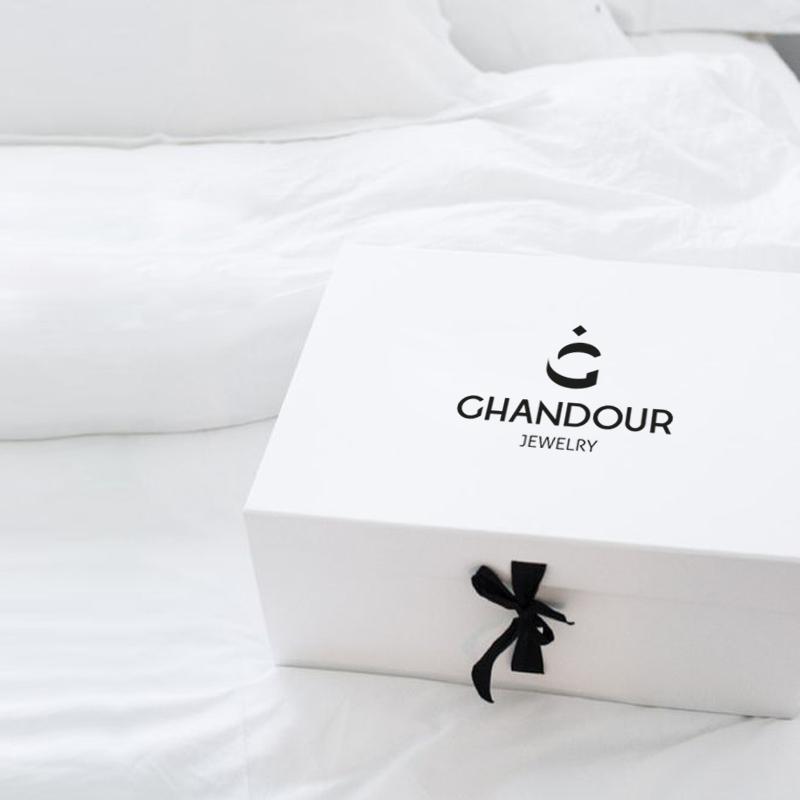 Ghandour jewellery box design with logo