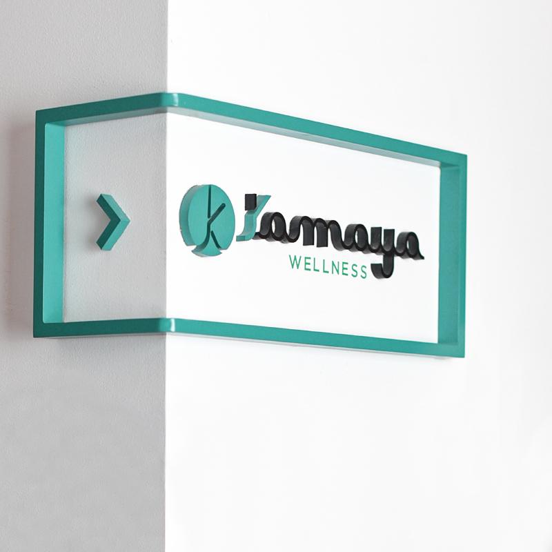 Kamaya wellness logo on wall