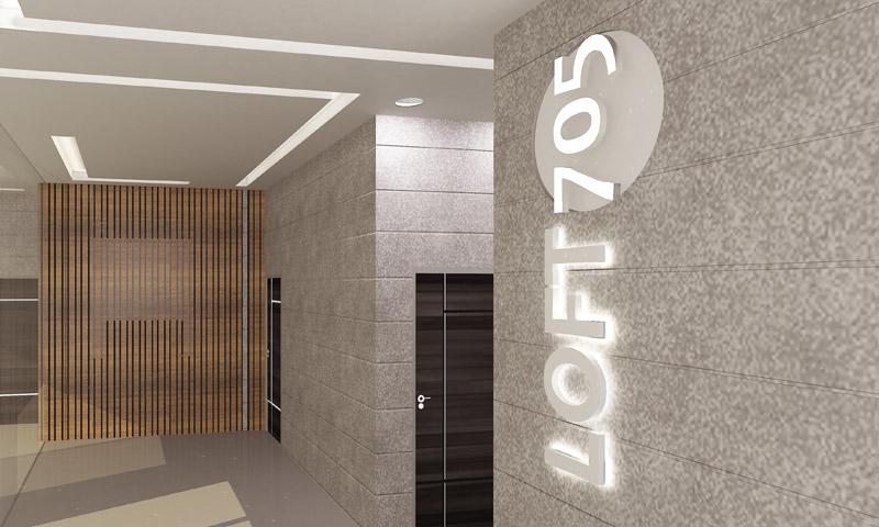 LOFT 705 logo on the wall
