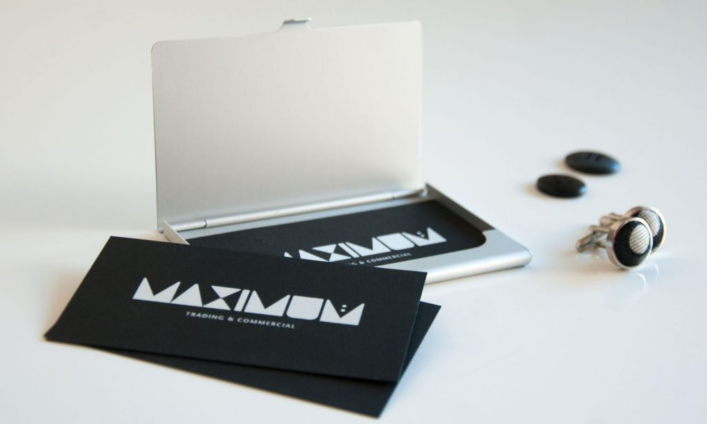 maximum logo and brand on business cards
