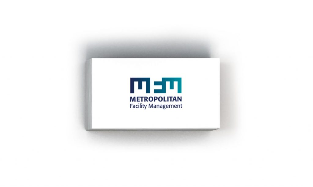 MFM - metropolitan facility management logo on business card designed by notaclinic