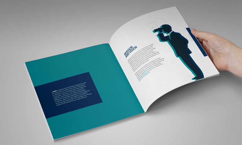 MFM - design of brochure interior with blue and white