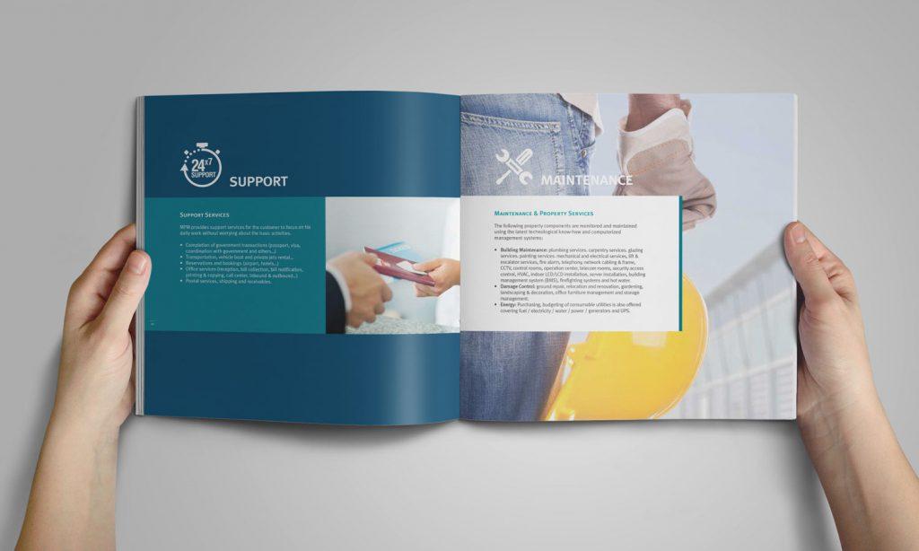 MFM - inside of a brochure - branding