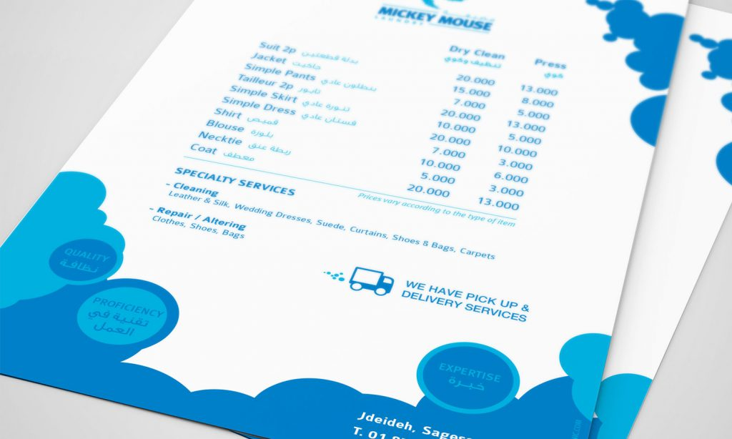 mickey mouse laundry branding for brochure - with prices
