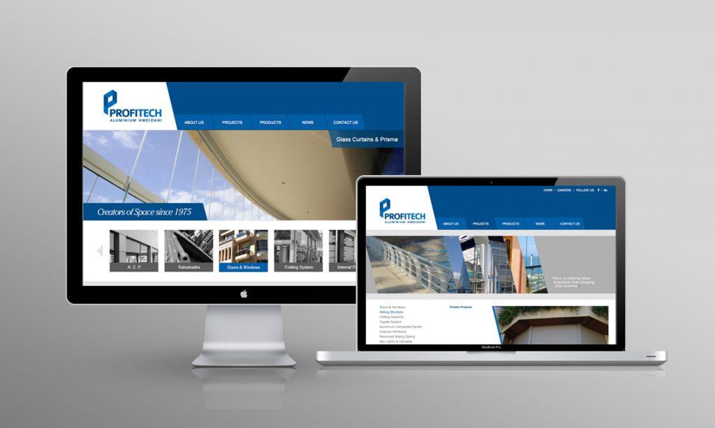 PROFITECH - web design and development - mockup for desktop and tablet site