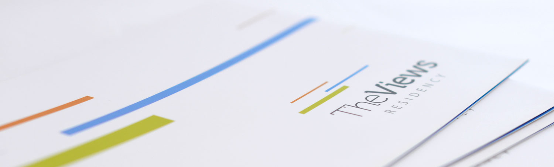 the views residence - logo on brochure design