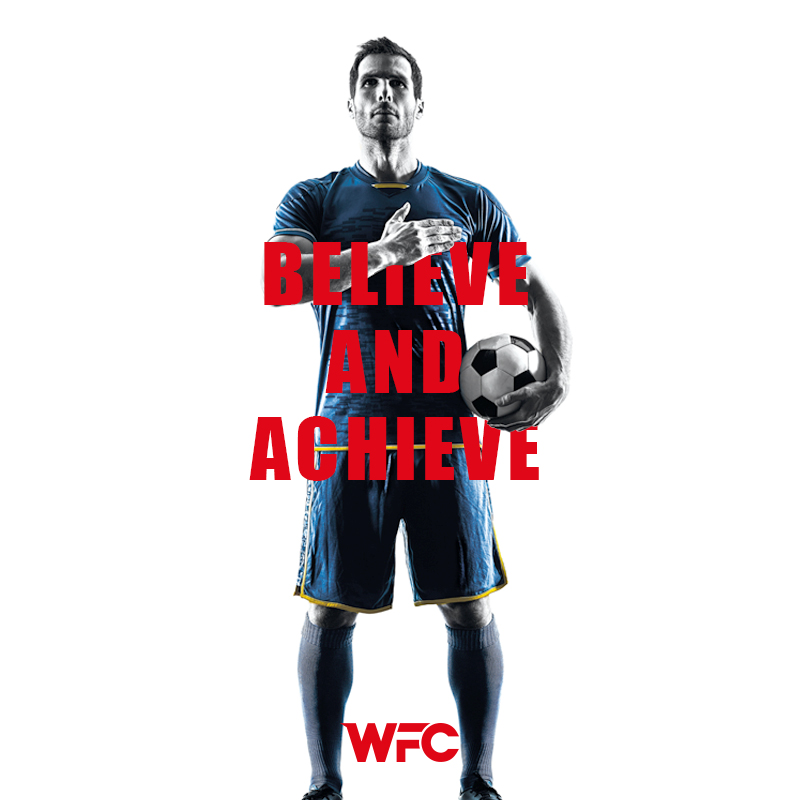 win football club - believe and achieve - post social media