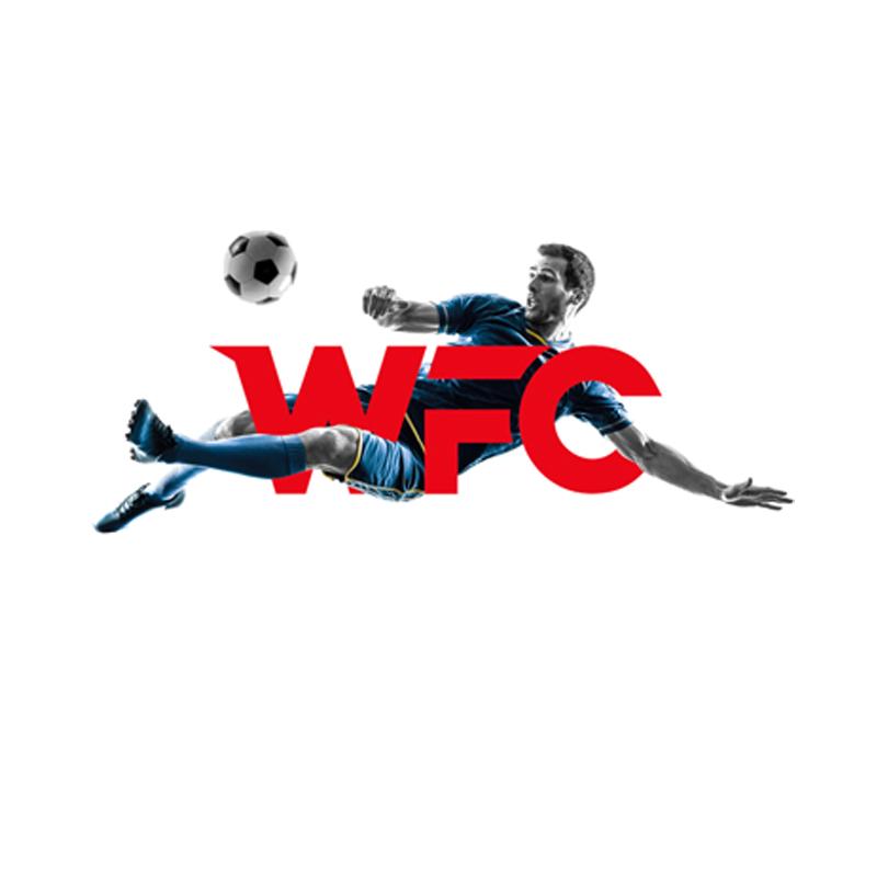 WFC - win football club logo design with football player shooting ball