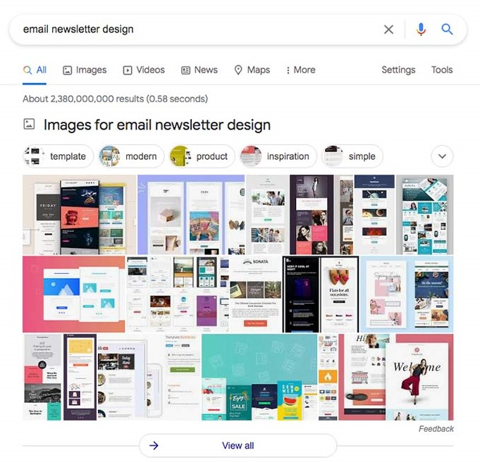 Example of email newsletter design on SERP